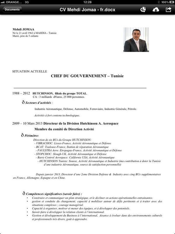 tunisie le cv officiel du nouveau pm tunisien  mehdi jomaa 1  2      t co  29yrcfwick  u2013 actu direct