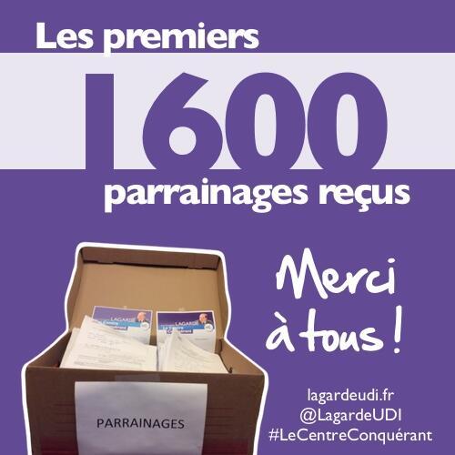 Les 1600 premiers parrainages reçus viennent d'être déposés au siège UDI accompagnés de ma candida..