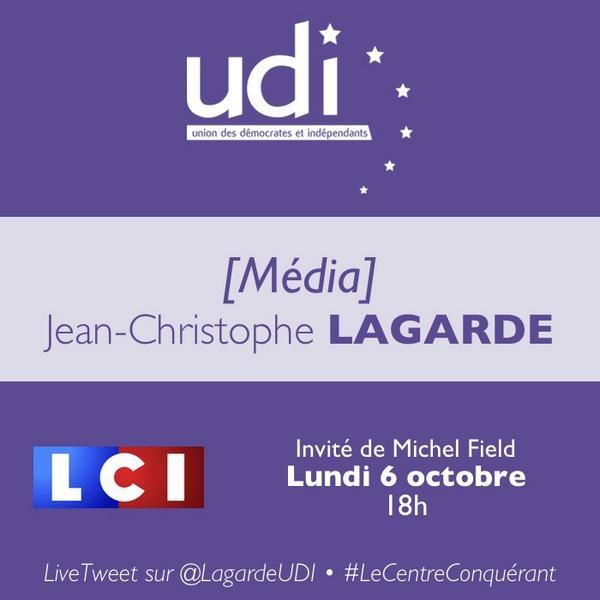 Je suis ce soir l'invité de @MichelField à 18h sur @LCI #LeCentreConquérant http://t.co/Xmwt8GZLkT