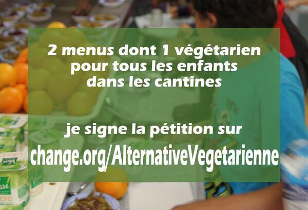 Ce soir pour le menu végétarien alternatif #cantine Vous êtes ➕de 85 000 à avoir signé !👍 ..