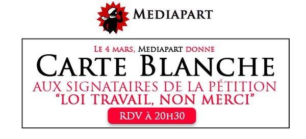 Ce soir à 20H30, @mediapart (accès libre) donne carte blanche aux signataires de la pétition #loit..