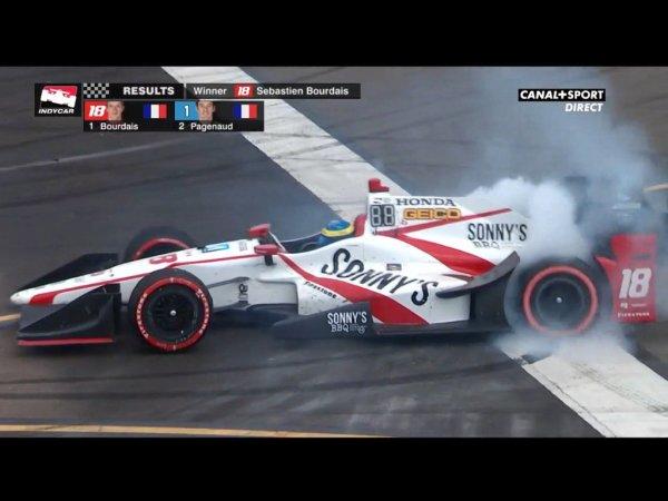 ÉNORME ! Doublé français en Indycar ! @BourdaisOnTrack vainqueur en partant dernier devant @simonp..