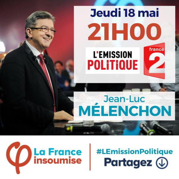 Rendez-vous ce jeudi 18 mai à 21h00 pour #LEmissionPolitique sur #France2. https://t.co/OCW9inzOZB