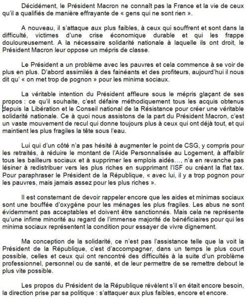 Ma réponse suite aux propos du Président #Macron sur les minima sociaux. https://t.co/LR6znP2sL9